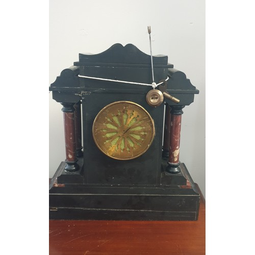 11 - Late 19th Century Black and Slate Marble Mantle Clock...
