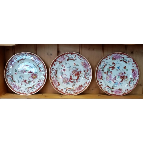 15 - Lot of Three Mason Ironstone Mandalay Red Plates, 10 1/2