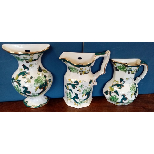 19 - Lot of 3x  Mason Ironstone Chartreuse Wall Mounted Vases