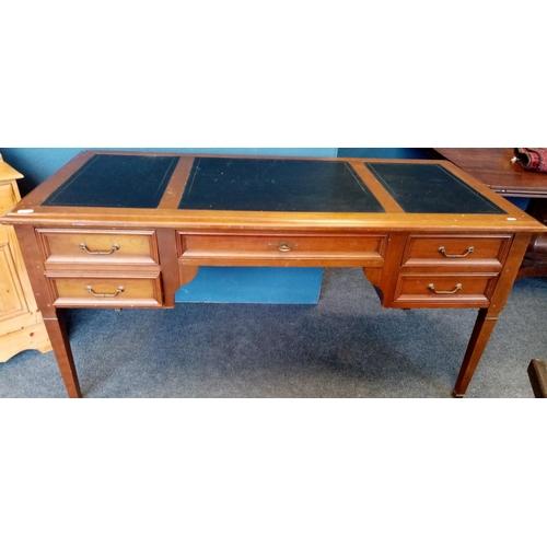 23 - Leather Top Pedestal Desk - 160cm long x 80cm high x 75cm deep