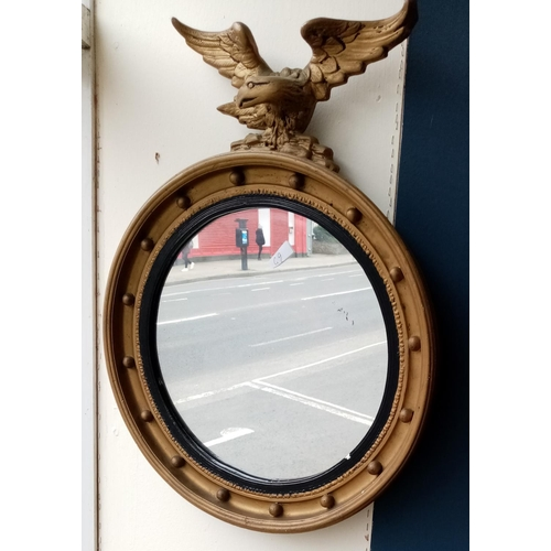 3 - Gilt Circular Convex Mirror with Eagle Detail