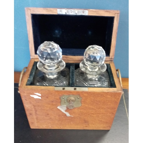 33 - Oak Decanter Case with 2 Crystal Decanters