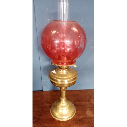 36 - Brass Table Lamp with Red Shade