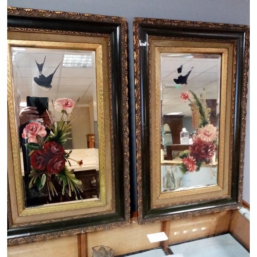 39 - Pair of Early 20th Century Mirrors with Hand Painted Flowers & Moulded Floral & Foliate Frames