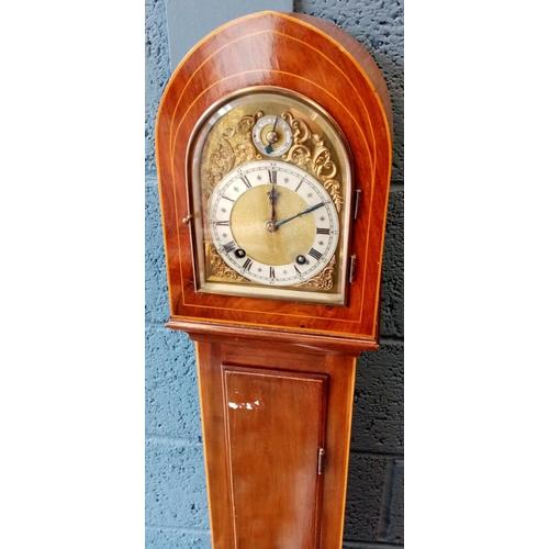 4 - Mahogany Inlaid Grandmother Clock, 4ft 8