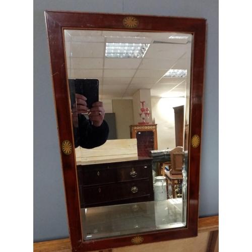 40 - Mahogany Inlaid Wall Mirror 39cm wide x 65cm high