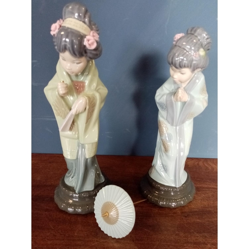 45 - Lot of 2x Lladro Geisha Figures