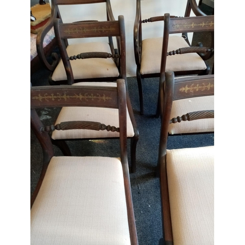 52 - Set of 6x Reproduction Brass Inlaid Dining Room Chairs