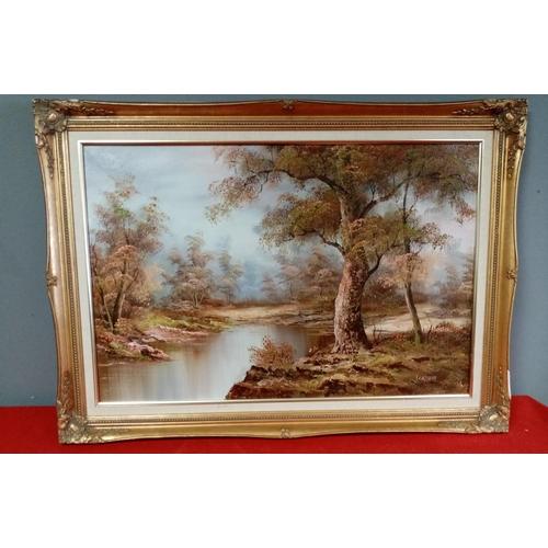 58 - Gilt Framed Oil on Canvas River Landscape