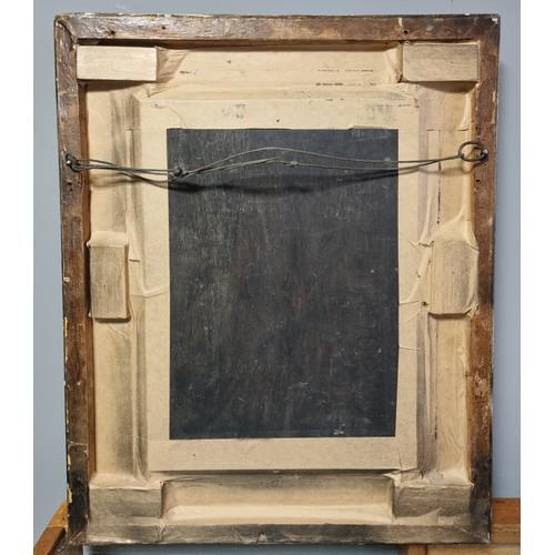57 - Gilt Framed Oil on Panel (indistinctly signed),  46cm wide x 56cm high