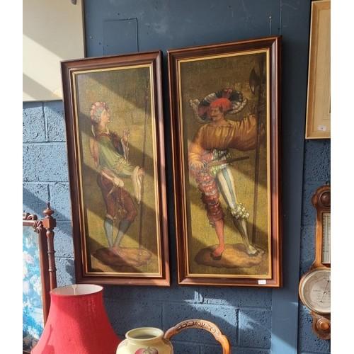 9 - Pair of Modern Oil on Canvas 120cm high x 54cm wide (each)