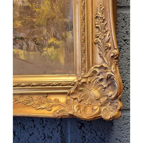 17 - Gilt Framed Oil on Canvas Street Scene 107cm wide x 77cm high