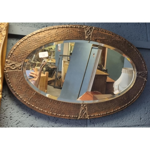 19 - Copper Framed Oval Mirror