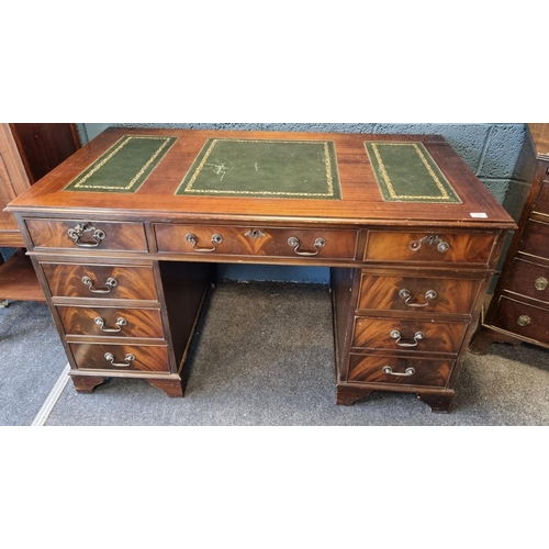 20 - Mahogany Leather Topped Pedestal Desk