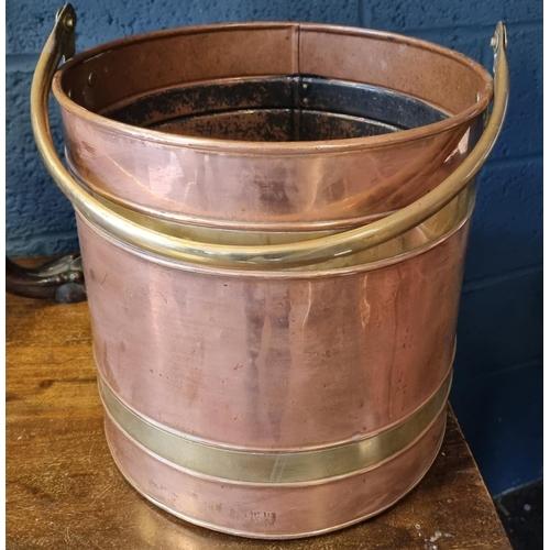 22 - Copper Coal Bucket 29cm high x 29cm diameter