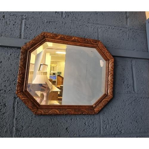 27 - Oak Framed Beveled Edge Wall Mirror