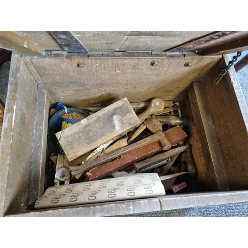29 - Wooden Tool Box and Contents