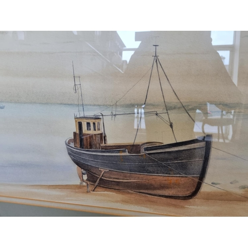 30 - Framed Watercolour Beach Trawler