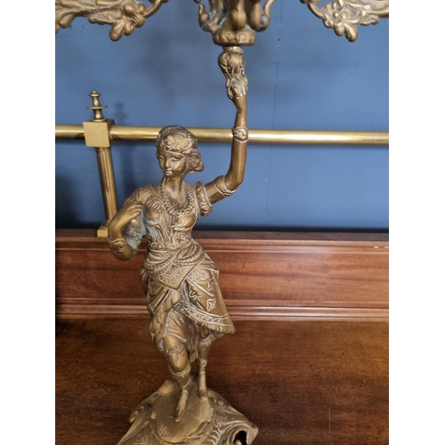 31 - Pair of Brass Candelabra, damage to one as pictured.