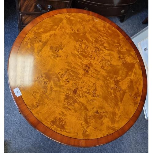 36 - Circular Reproduction Walnut/Birds Eye Maple Window Table 71-1/2cm high with a 77cm diameter top