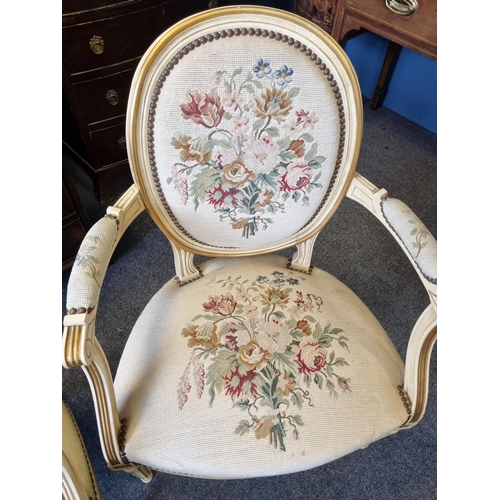 38 - Pair of Tapestry Open Armchairs