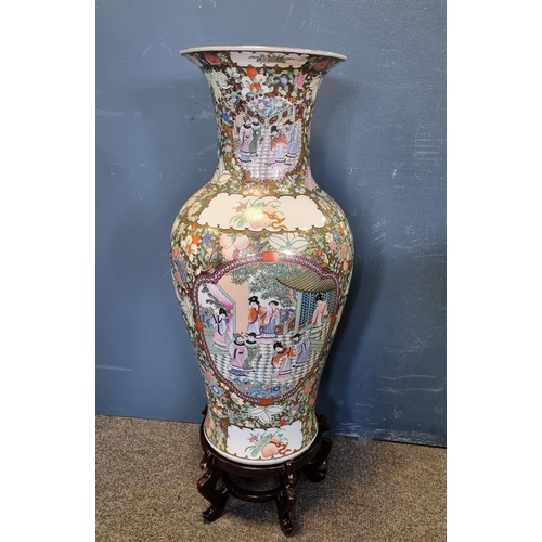40 - Large Oriental Jardinere on stand total height including the stand is 97cm
