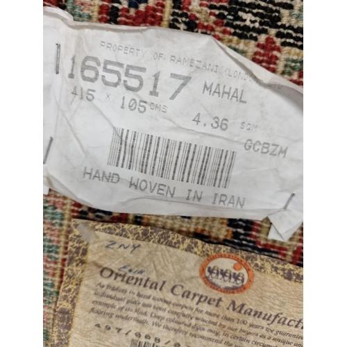 42 - Iranian Handwoven Mahal wool Runner 415cm x 105cm