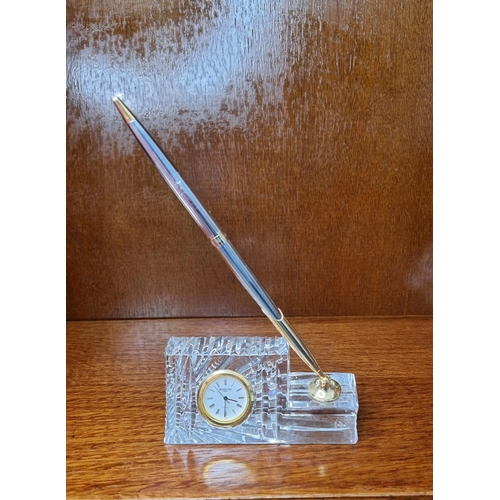 55 - Waterford Crystal Clock with Pen