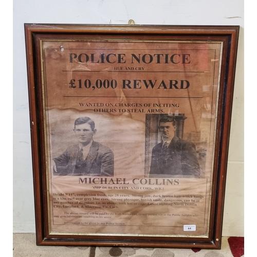 44 - Police Notice Michael Collins Reward Framed Print