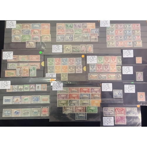 100 - BRITISH COMMONWEALTH KGVI selection on stock cards mainly complete M sets incl. Aden 1939, Basutolan...