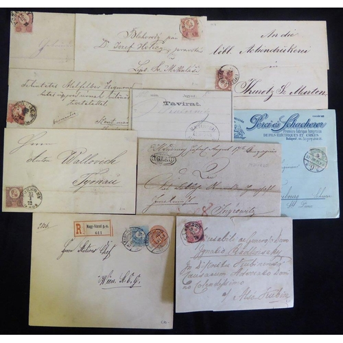 1001 - 1820-97 trio of stampless covers, 1870's frankings incl. registered use of stationery cover, 'envelo...