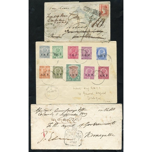 1003 - 1850's - later small group of EL's & covers, marks incl. framed LIVERPOOL INDIA SHIP L.R, CALCUTTA S...