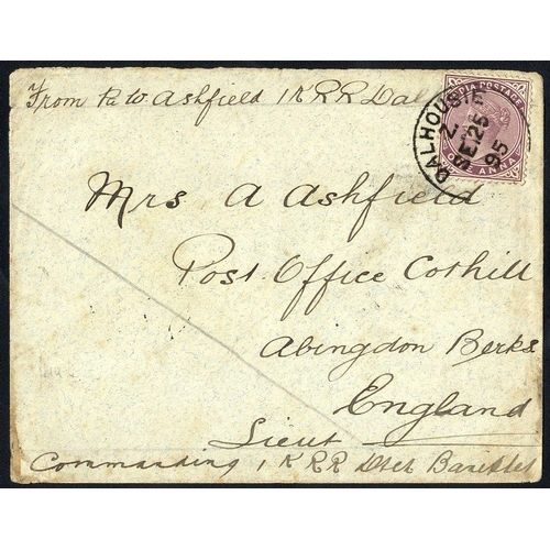 1005 - 1895 Campaign cover, franked 1a, tied Dalhousie c.d.s. to England, officer counter - signed, written...