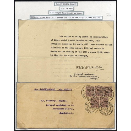1007 - 1920 Jan 20th RAF experimental first flight Karachi - Bombay official letter from PA to PMG Bombay (...