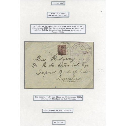 1008 - 1925 Jan 23rd RAF demonstration flight Calcutta - Risalpur cover posted on arrival to Nowshera (64 l...
