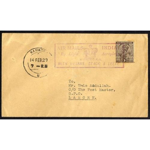 1009 - 1927 Feb 14th Stack & Leete flight Karachi - Lahore with large oblong cachet (60 flown)....