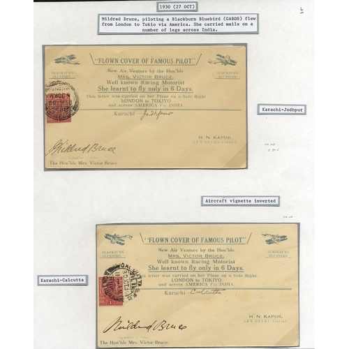 1012 - 1930 Oct 27th Mildred Bruce world flight special covers (2) incl. one with inverted aircraft, flown ...