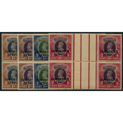 1016 - CHAMBA OFFICIALS 1938-40 1r to 10r in gutter blocks of four, usual toned gum, SG.O68/71. (16) Cat. £...