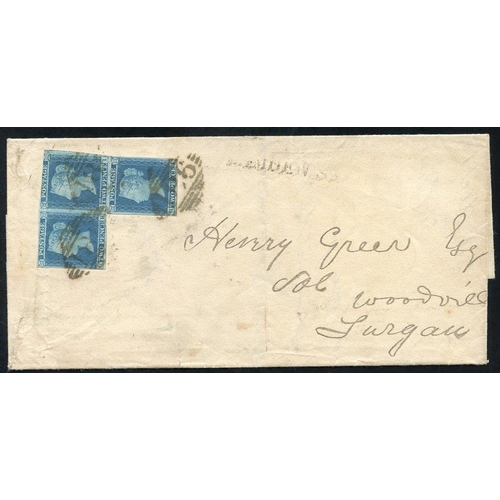 1029 - 1845 cover from Dublin to Lurgan, franked 2d PL.3 GH, GI & HI (irregular strip), margins all round e...