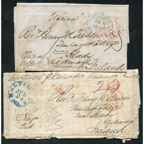 1030 - 1850 (24 Jun) & 1856 (25 July) two Ship Letters ex the same correspondence from the US to County Arm...