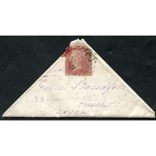 1031 - 1872 1d red Pl.135, affixed to a triangular entire to Glasgow from Glengariff Castle, reverse bears ...