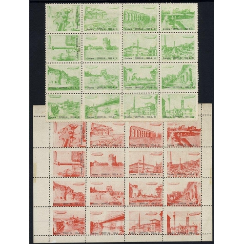 1041 - 1933 Zeppelin flight around Rome - two sheets (one with margins) showing 16 historical views of Rome...