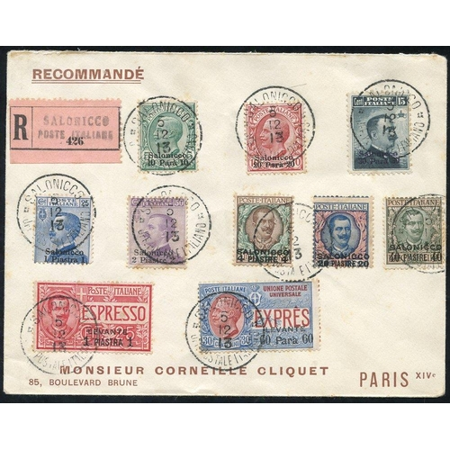1042 - P.O's in SALONICA 1913 registered cover bearing the 'Salonica' ovptd set of eight vals with Levant E...