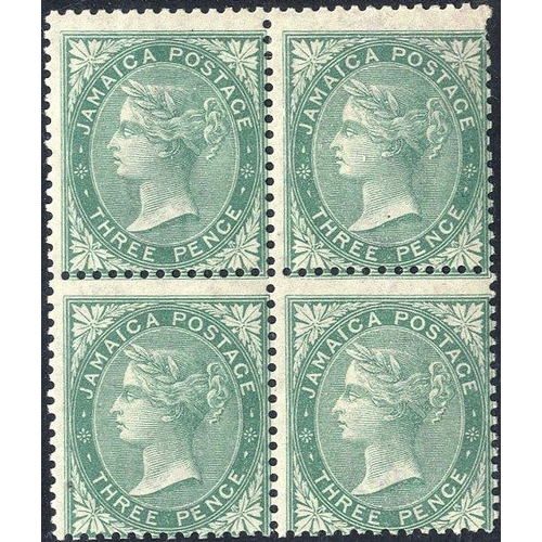 1051 - 1860-70 3d green, fresh M block of four, centred low to right, a couple of pulled perfs NE corner. (...