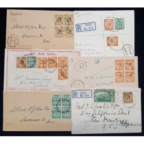 1054 - 1917-30 selection of covers used either locally or to UK, Canal Zone or USA, various multiple or mix...