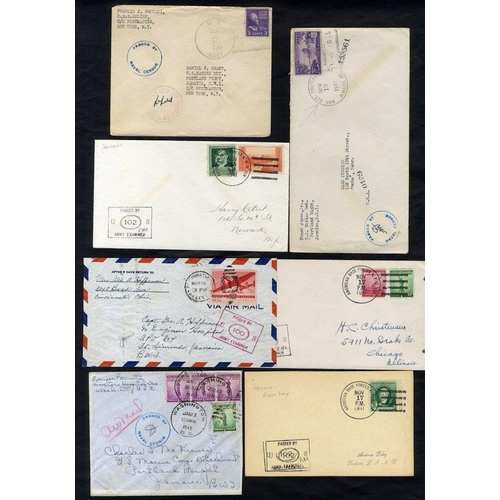 1057 - WWII USA franked covers from US Marine Dept - Portland Bight with Naval censored or PASSED BY ARMY E...