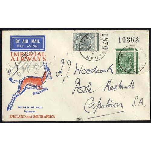 1065 - 1932 Jan 23rd Imperial Airways first regular service Kisumu - Cape Town official spring back cover, ...
