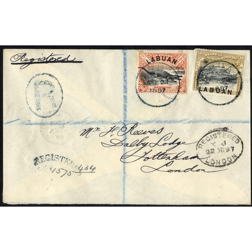 1081 - 1897 registered envelope to London franked 12c Crocodile & 18c Mount Kinabalu (stamps- minor tones) ...