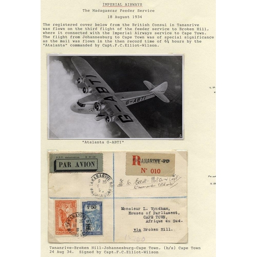 1103 - 1934 Aug 18th flown reg cover from British Council in Tananarive on the third flight of the feeder s...