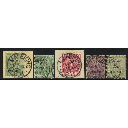 1104 - 1900 Surcharged Cape values 1d (both types), 3d, 6d & 1s all VFU incl. 1d SG.1 & 3d SG.3 each on pie...